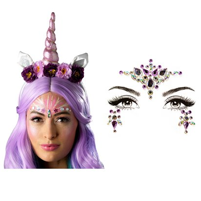 Unicorn Dreams Accessories Kit - Ladies Face Gem Fancy Dress Accessories front