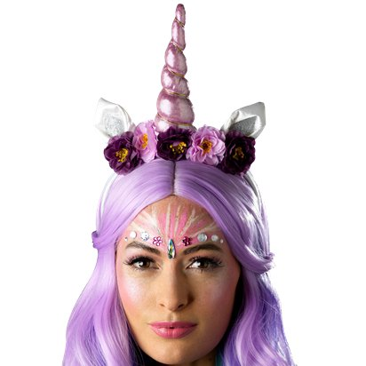 Unicorn Dreams Accessories Kit - Ladies Face Gem Fancy Dress Accessories left
