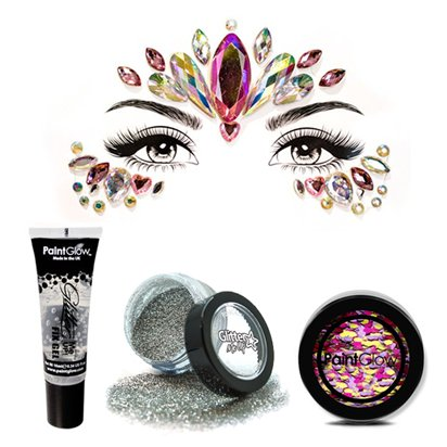 Glitter Face and Body Gem Kit - Ladies Festival Fancy Dress Accessories front