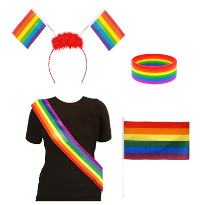 Pride Flag Accessory Kit - Pride Carnival Fancy Dress Accessories  front