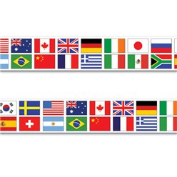 Multi Nations Flag Party Tape - 20ft