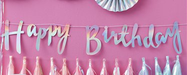 iridescent party happy birthday letter bunting 15m