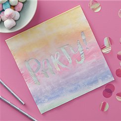 Iridescent Party Foiled Paper Napkins - 33cm