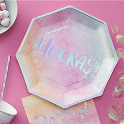 Iridescent Party Hooray Foiled Plates - 25cm Paper Party Plates