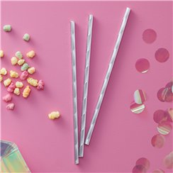 Iridescent Party Paper Straws - 19.5cm