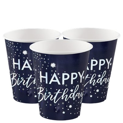 Iridescent Foiled Happy Birthday Paper Cups - 255ml