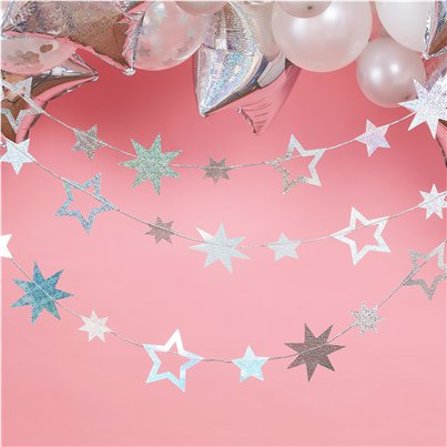 Iridescent Star Garland - 5m