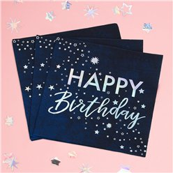 Iridescent Foiled Happy Birthday Paper Napkins - 33cm