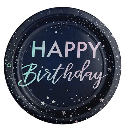 Iridescent Foiled Happy Birthday Paper Plates - 24.5cm
