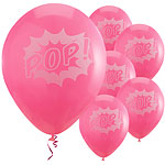 "Pink Pop Art Superhero Balloons - 11"" Latex"