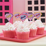 Pink Pop Art Superhero Cupcake Picks - 7cm
