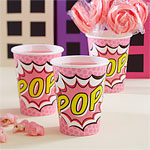 Pink Pop Art Superhero Paper Cups - 256ml