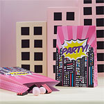 Pink Pop Art Superhero Paper Party Bags - 16cm
