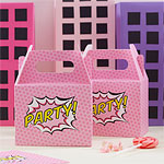 Pink Pop Art Superhero Party Boxes - 20cm