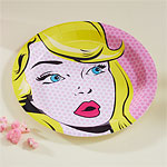 Pink Pop Art Superhero Plates - 23cm Paper Party Plates