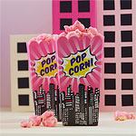 Pink Pop Art Superhero Popcorn Boxes - 16cm