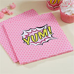 Pink Pop Art Superhero Yum Napkins - 2ply Paper
