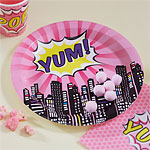 Pink Pop Art Superhero Yum Plates - 23cm Paper Party Plates