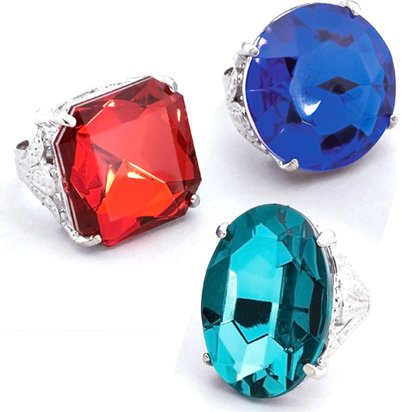 Jumbo Gem Rings - Assorted Colours - Fancy Dress Accessories front