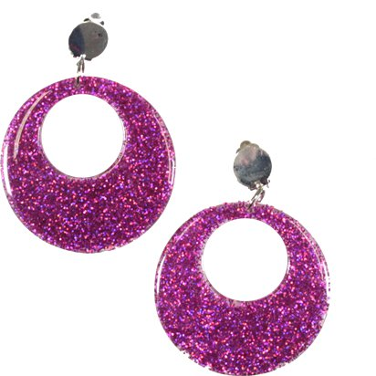 Pink Glitter Mod Earrings - 60's Fancy Dress Accessories front