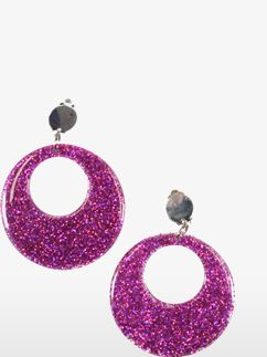 Pink Glitter Mod Earrings