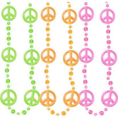 Funky Peace Sign Bead Necklace front