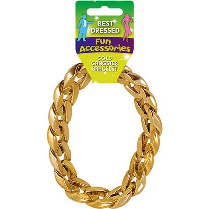 Gold Gangster Bracelet - Pimp & Gangster Fancy Dress Accessories front