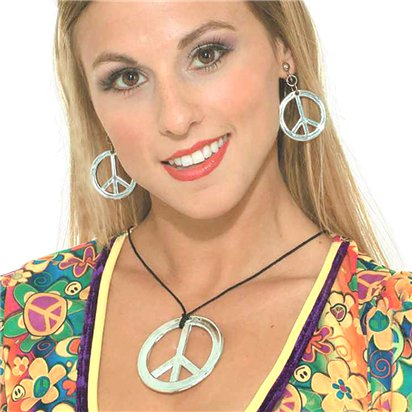 Peace Necklace and Bracelet - Hippie - 60's front