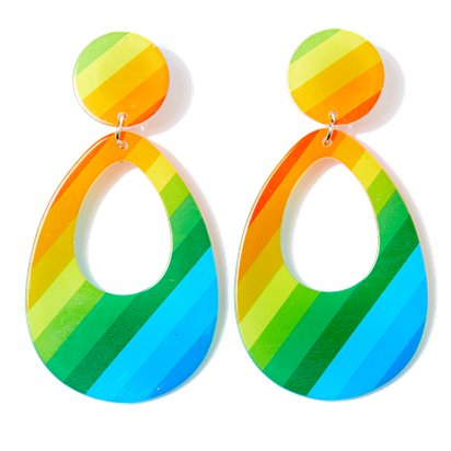 Teardrop Multi-Coloured Earrings - 80's Fancy Dress Costume Accessories front