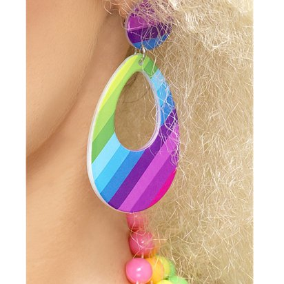 Teardrop Multi-Coloured Earrings - 80's Fancy Dress Costume Accessories left
