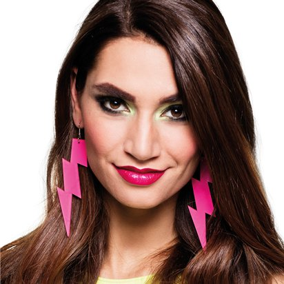 Flash Earrings - 80's Fancy Dress Costume Accessories front