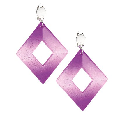 Rhombus Earrings - 80's Fancy Dress Accessories front