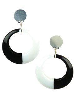 Mod Black & White Earrings
