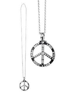 Silver Diamante Peace Necklace
