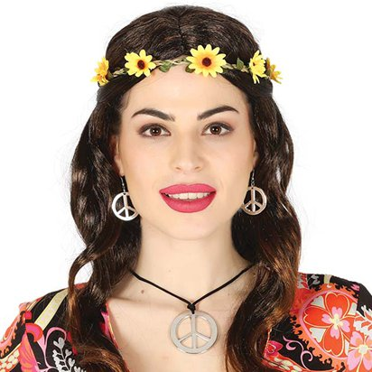 Hippie Peace Necklace & Earrings - Ladies 60s Fancy Dress Accessories front
