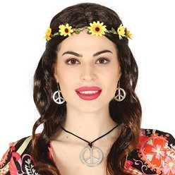 Hippie Peace Necklace & Earrings