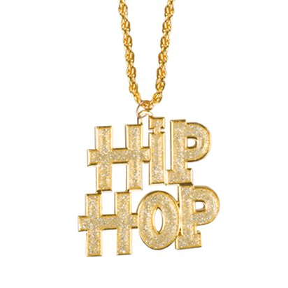 Necklace Hip Hop - 90's Jewellery Fancy Dress Accessory - Adult front