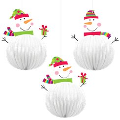 3D Snowmen Hanging Decorations - 20cm