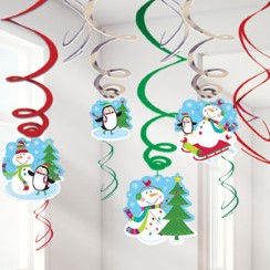 Joyful Snowman Hanging Swirls - 55cm