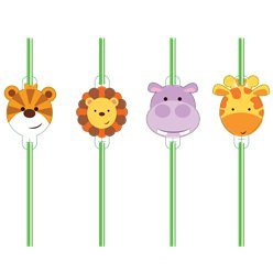 Animal Friends Plastic Straws