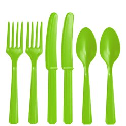 Lime Green Reusable Plastic Cutlery - Assorted 24pk