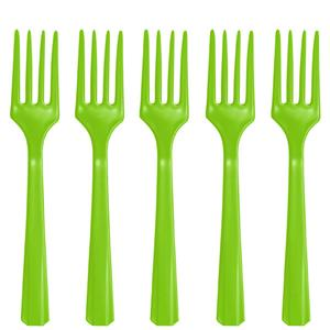 Lime Green Reusable Forks - 20pk