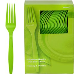 Lime Green Reusable Forks - 100pk