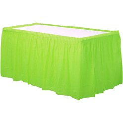 Lime Green Plastic Table Skirt - 73cm x 426cm