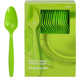 Lime Green Reusable Spoons - 100pk