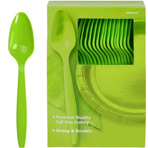 Lime Green Reuseable Plastic Spoons