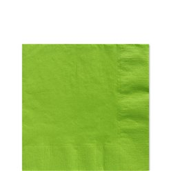 Lime Green Beverage Napkins - 25cm Square 2ply Paper