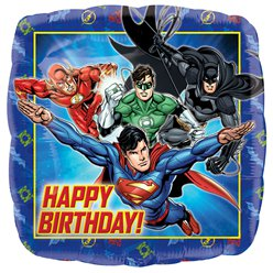 Justice League Happy Birthday Square Balloon - 18