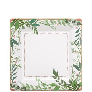Love & Leaves Square  Dessert Plates - 18cm Paper Party Plates
