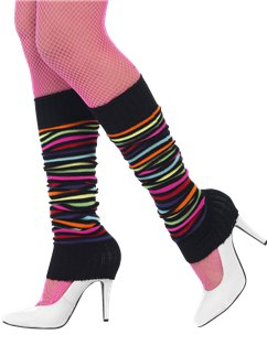 Black Neon Striped Leg Warmers